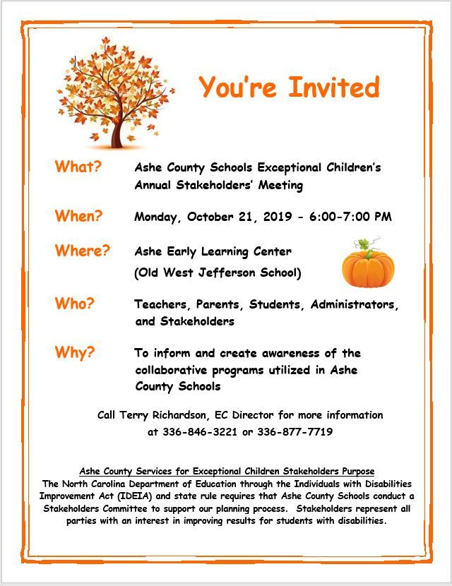 The Ashe County Schools Exceptional Children's Annual Stakeholders' Meeting